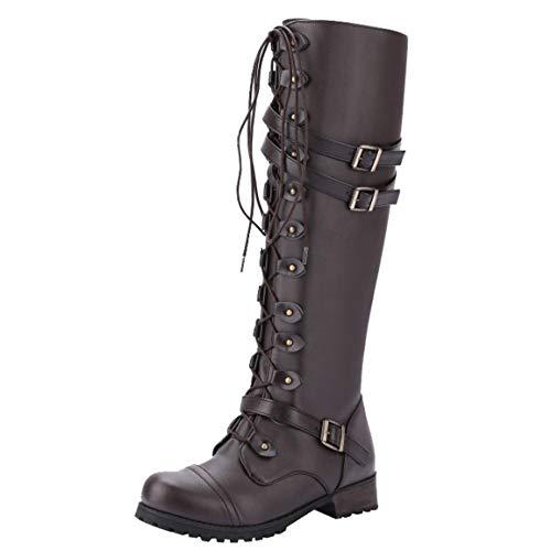 Moonuy 1 Paar Frauen Schuhe Damen Platz Ferse Stiefel 2018 Mode Steampunk Winter Gothic Vintage Style Retro Punk Schnalle Militär Combat Boots (Für Steampunk Frauen)