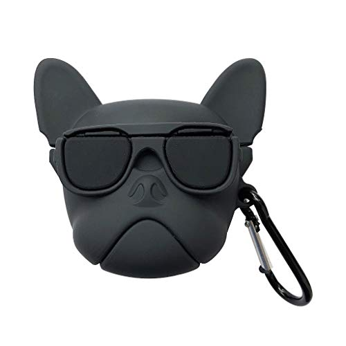 William-Lee 2019 Lustiger H& in Brille Muster Weiche Silikon Schutzhülle Tasche Stoßfest Cover Aufbewahrung Skin Protector mit Karabiner für Airpods 1/2 Ladebox Schwarz