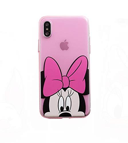 Onix Store Pinke Disney Case für iPhone X und XS, Zeichentrickfiguren, Weiche TPU Protective Back Cover, Minnie Mouse Character -