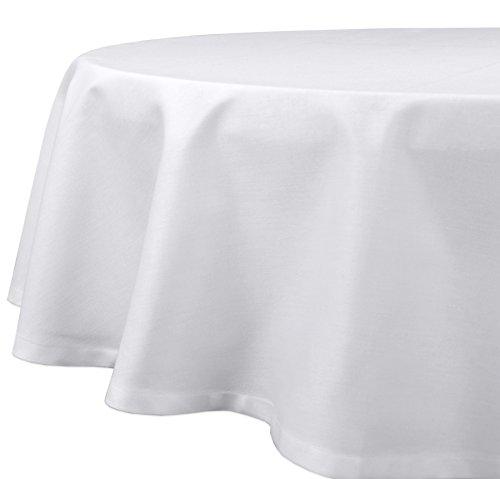 Gastronomie Hôtel Nappe Serviettes, en coton à bord atlas, Carré Rond Blanc Taille au choix, Coton, Weiß, Tischdecke Rund 300 cm