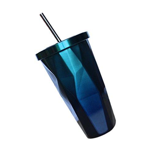 er doppelwandig Tasse Becher Smoothie Saft Kaffee Eiskaffee Becher mit Deckel Strohhalm - Blau ()