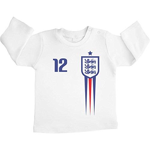 Shirtgeil England Fußball Fanartikel für Babys zur WM Unisex Baby Langarmshirt 6-12 Monate / 76 Weiß -