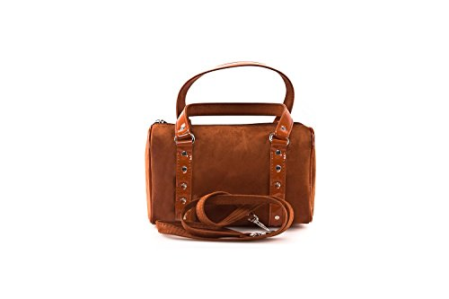 Bauletto sac femme ANNALUNA ruggine MADE IN ITALY camoscio borsetta sera N330