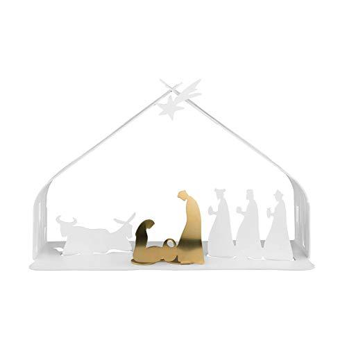 Alessi BM09 W Bark Crib Presepe in Acciaio Colorato con Resina Epossidica e Acciaio Dorato, Bianco