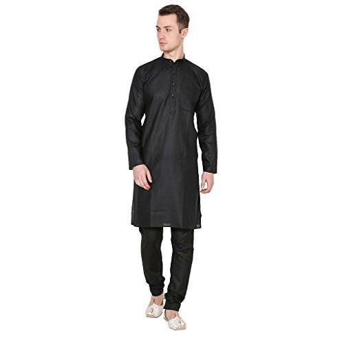 Ruchi Mart Ethnische Wear Kurta Pyjama Set Herren Kleidung Traditionelle Poly Cotton Black Dress - Black Kurta