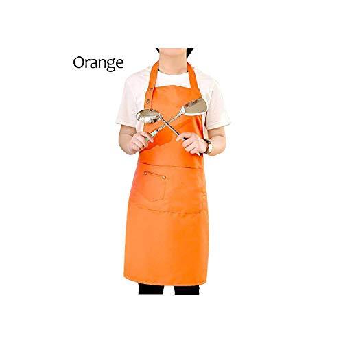 Schürze Neue Reine Farbe wasserdichte Schürzen Kochen Küchen-Schürze für Frauen Männer Chef Kellner Café-Shop BBQ Friseur Schürzen, Weiß -