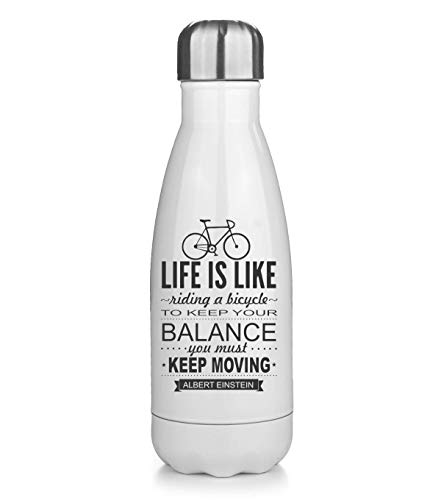 KRISSY Life is Like Riding A Bicycle to Keep Your Balance You Must Moving Thermos Flask Bottle Water Bottle Stainless Steel Vacuum