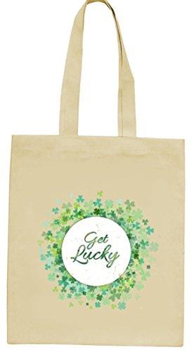 Irland Paddy Saint St. Patrick's Day natur Jutebeutel Stoffbeutel Tote Bag Get Lucky Natur