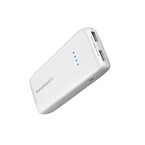Chargeur Portable 12000mAh RAVPower, Batterie Externe Li-polymère avec 2 Ports USB iSmart 2.0 (Sortie de 2.4A Max et Entrée 2A) pour iPhone 7, iPad, Galaxy S8, Tablette, etc. - Blanc