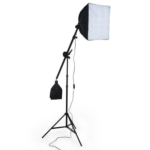 TecTake Profi Fotostudio Set inkl. Leuchtmittel Softbox + Tasche - Diverse Modelle - (Studioleuchte mit Galgenstativ (Art. 400896))