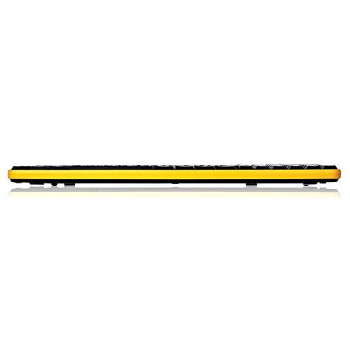 Kabellose Tastatur und Maus, Jelly Comb 2.4G Ultra Dünne Bewegliche Drahtlose Tastatur und Maus Combo (QWERTZ, Deutsches Layout) Full-Size Ergonomische Kabellose Flüsterleises Tastaturdesign, Gelb &Schwarz - 6