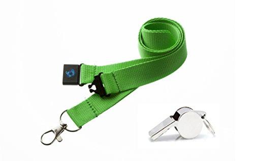 PAC Supplies Global Ltd Umhängeband mit Sicherheitsverschluss und Metall-Pfeife, neon green