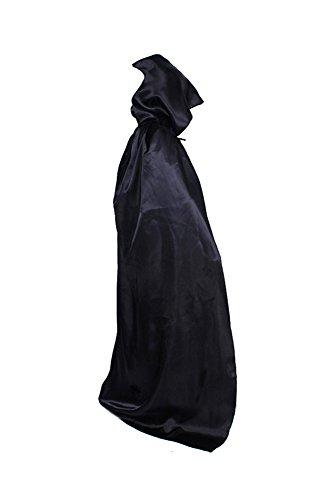 (Manfis Halloween Kostüm - Tod Teufel Umhang mit Kapuze 150cm Schwarz)