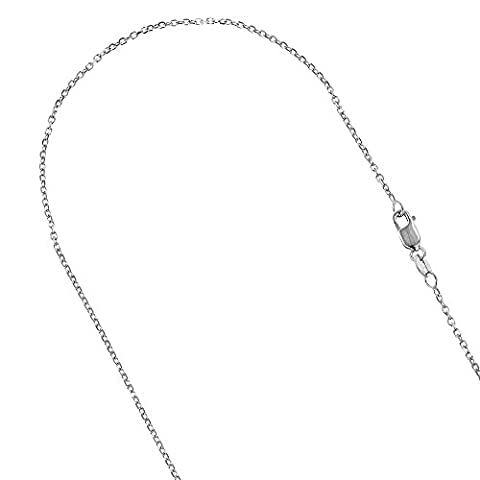 Luxurman 14K Solid White Gold 1.8mm Wide Diamond Cut Cable Link Chain 22