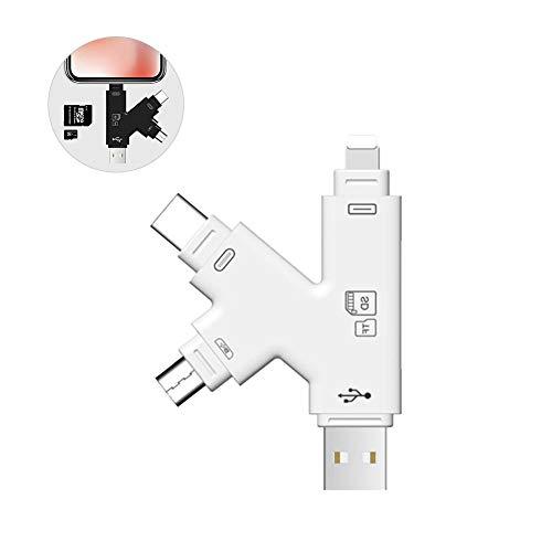SD & Micro SD Kartenleser für Apple iphone ipad Android Telefon Macbook Computerspeicher Tragbarer Kartenadapter, USB 4-Schnittstellen Bild- und Video-Viewer für Kamera, mit IOS, USB C, Micro USB