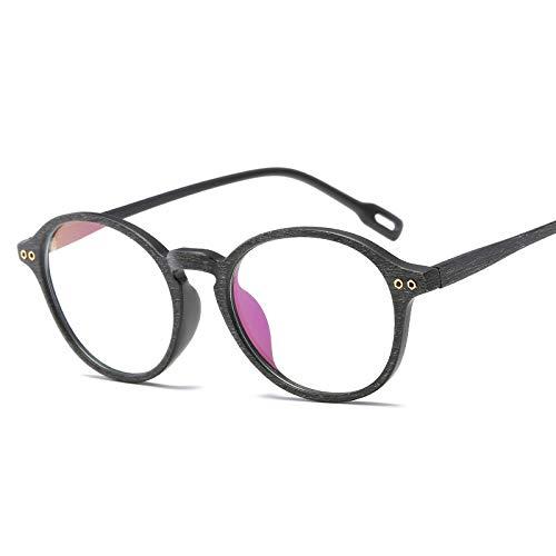 YMTP Ultra-Light Oval Brillengestell Frauen Männer Optischen Rahmen Nachahmung Holzmaserung Transparent Spektakel, Schwarz