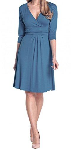 Glamour Empire Damen Kleid Tiefer V-Ausschnitt Sommerkleid Cocktailkleid 282 Blau Jeans
