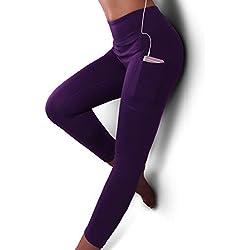 GRAT.UNIC Mallas Deportivas de Mujer,Mujer Pantalones elásticos de yoga con bolsillos laterales,3/4 polainas de yoga Fitness(Morado 3/4, M)