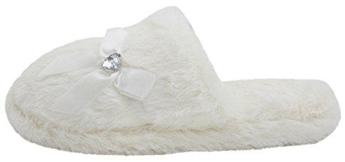 Per Sempre Sognando Signore Memory Foam Ecopelle Pantofole Avorio - Avorio