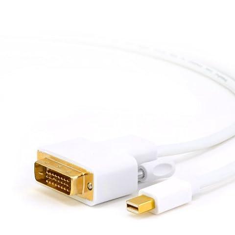 CSL - 3,0m Full HD Câble Mini Displayport (miniDP) vers DVI | Full HD 1080p | certifié | Contacts plaqués or 24K | PC Ordinateur & Apple MAC | blanc