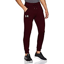 Under Armour Rival Fitted Tapered Jogger Pantalones, Hombre, Dark Maroon/Black, 2XL