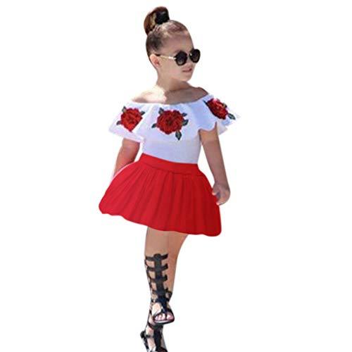 Rock Crewneck (Kleinkind Baby Mädchen Kleidung Set Kurzarm Crewneck T-Shirt Top + Blumenkleid 2 Stück Röcke Outfit Set)