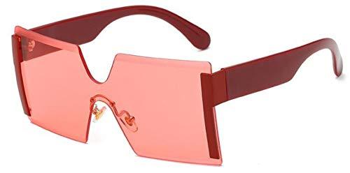 Sonnenbrillen. Frauen Übergroße Brille Halb Randlose Quadratische Sonnenbrille Designer Große Weibliche Sonnenbrille Outdoor Reisen Sommer Staub Uv400 Rot