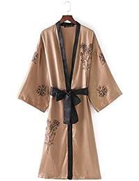 Huixin Kimono Mujer Largos Vintage Etnica Estilo Bordadas De Flores Flores Cardigan Modernas V-Cuello