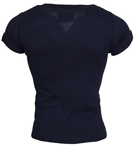 Tazzio Herren T-Shirt Poloshirt Polo Hemd Slim Fit Japan Style Kurzarm Dunkelblau Agueda