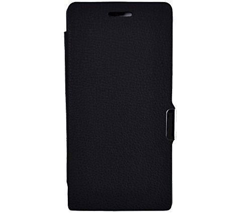 gada - Handyhülle für Huawei Ascend P7 mini - Sehr schönes Leder-Imitat Flipcase Cover mit Magnetverschluss - Schwarz
