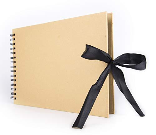 Smiling Art Fotoalbum 80 Seiten (40 Blatt) zum selbst Gestalten/basteln, zum einkleben, DIY Scrapbook, Deckblatt aus Harter Pappe, Schwarze Seiten, mit Zubehör Kit