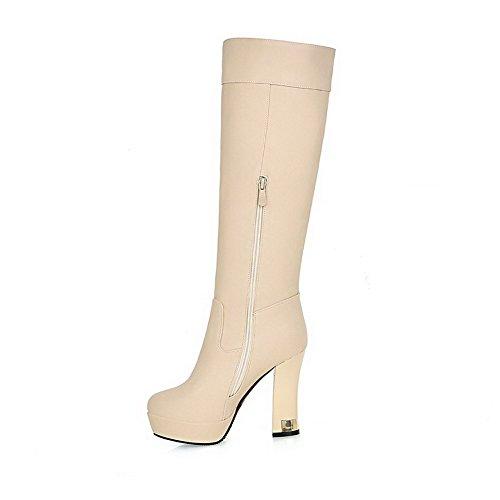 VogueZone009 Donna Cerniera Tacco Alto Puro Alta Altezza Stivali con Talismano Albicocca