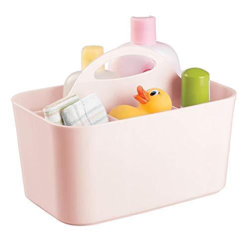 mDesign Aufbewahrungsbox Kinderzimmer mit 4 Fächern - ideal z. B. zur Babynahrung Aufbewahrung - Ordnungssystem aus BPA-freiem Kunststoff für Babyzubehör & Co. mit Griff zum Transportieren - rosa