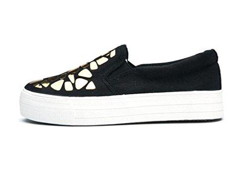 SHFANG Lady Shoes L'aumento interno Pu Casual Scarpe Movimento Confortevole Tempo libero Studenti Bianco Nero black gold