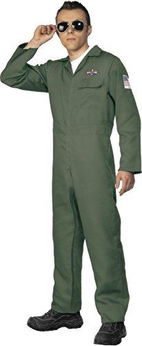 Smiffys Herren Flieger Kostüm, Jumpsuit, Größe: M, 28623