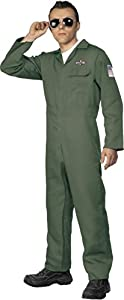 "Smiffys-28623L Disfraz de Aviador, con Enterizo de Cremallera, Color Verde, L - Tamaño 42""-44"" (28623L"