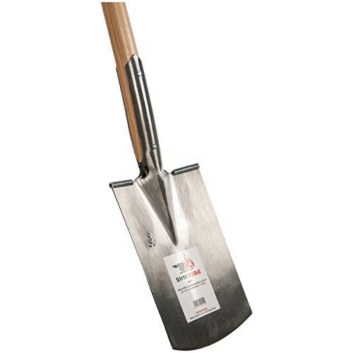 SHW-FIRE 59011 Gärtnerspaten Spaten Stahl Trittkante Harte Steinige Böden mit Stiel Holzstiel Esche (T-Griff)