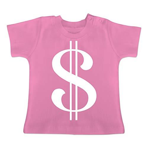Karneval und Fasching Baby - Dollar Kostüm weiß - 3-6 Monate - Pink - BZ02 - Baby T-Shirt Kurzarm (Dollar Baby Kostüm)