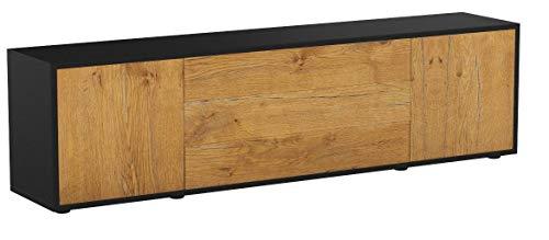 Stil.Zeit TV Schrank Lowboard Ariella, Korpus in Anthrazit Matt/Front im Holz-Design Eiche (180x49x35cm), mit Push-to-Open Technik und Hochwertigen Leichtlaufschienen, Made in Germany