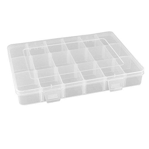 Gespout 1 scatola porta-perline a 36scomparti in plastica dura trasparente con divisori rimovibili, 18 grid, 23*11.5*3.8