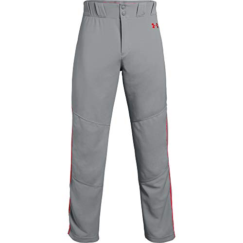 Under Armour Herren Utility Relaxed Piped Baseball Pants Hosen, Gray (083)/Red, Medium - Relaxed Fit Utility Pant