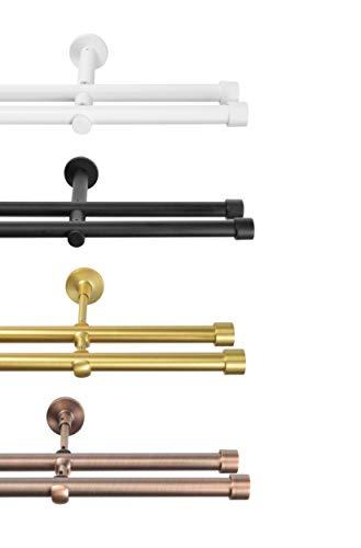 Rollmayer Metall Weiß Matt Vorhangstange/Gardinenstange Ø 19mm Rohr (240cm Crux, im Weiß Matt, 2-läufig) einfache Montage Verschiedene Größen und Endstücken. Ohne Ringe!