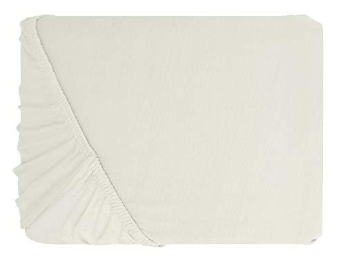 npluseins klassisches Jersey Spannbetttuch - erhältlich in 34 modernen Farben und 6 Verschiedenen Größen - 100% Baumwolle, 70 x 140 cm, Perlmutt