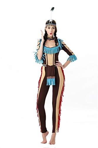 Erotische Kleider Halloween Kostüm Indian Savage Indigene Hunter Cosplay Party Bühne, Khaki, One Size