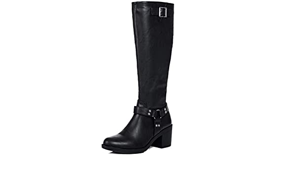 5d13cbc0d0b Spylovebuy Bryanna Women s Buckle Block Heel Knee High Tall Boots   Amazon.co.uk  Shoes   Bags