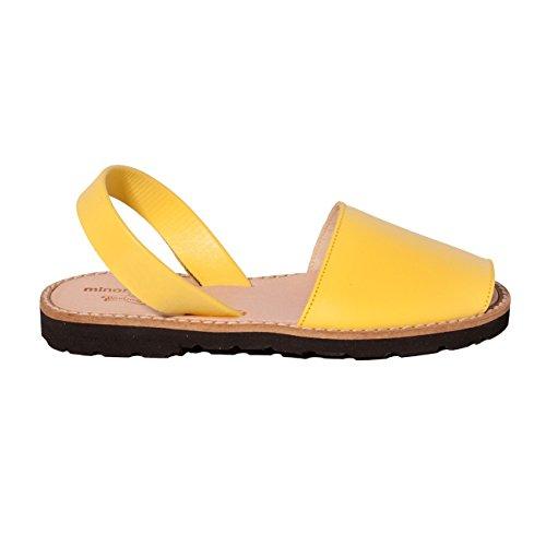 Minorquines - Sandales Avarca Cuir Limon - Enfant Jaune