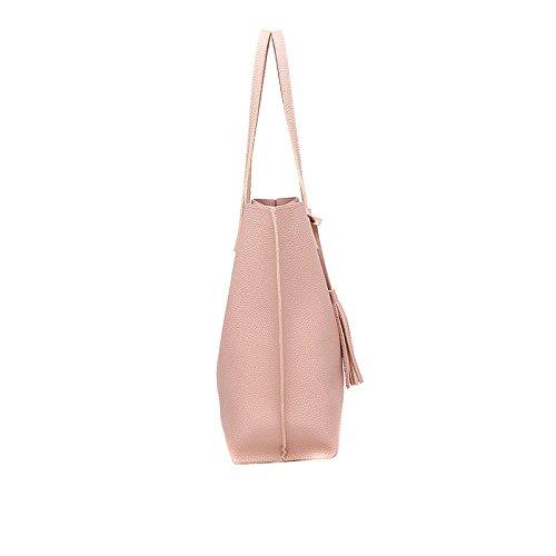 Lady Espeedy Casual Pink Quasten PU Schultertasche Leder Volltonfarbe Handtasche Frauen Einfache Geldbörse Reisetaschen Frn1qgF
