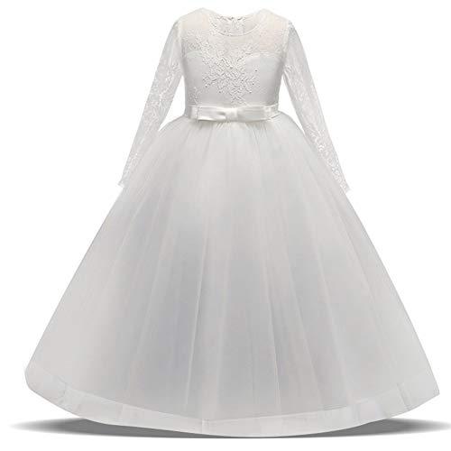 BEARCOLO Langärmelige Mädchen Spitzenkleid, Floral Bowknot Hochzeit Prinzessin Kleid Party Kommunion Prom Dance Taufe Ballkleid für Kinder Size 170cm (Weiß)