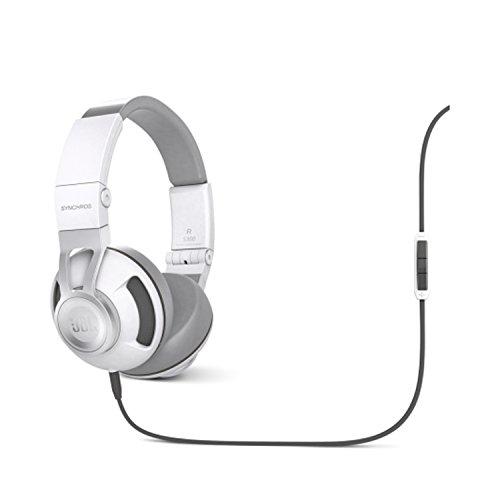 JBL Synchros S300A Hochwertiger On-Ear Stereo-Kopfhörer Faltbar mit Abnehmbarem Audiokabel mit Universal 1-Taster-Fernbedienung/Mikrofon Kompatibel mit Android und Apple iOS Geräten - Weiß/Silber