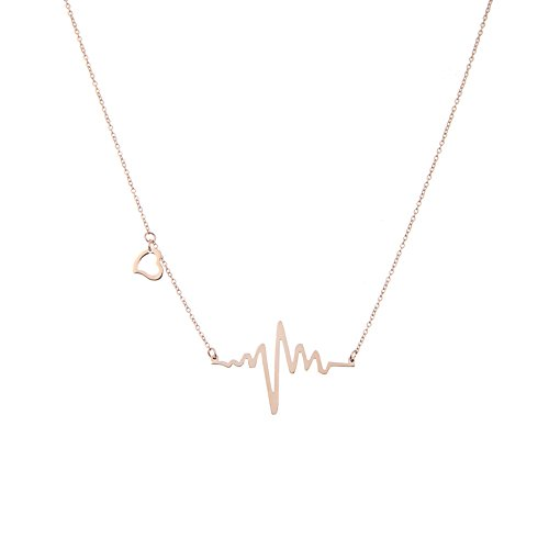 LUREME Einfach Women Schmuck Rostfreier Stahl and Rose Vergoldet with Herz Charme EKG Heartbeat Pendant Halskette (01002829)